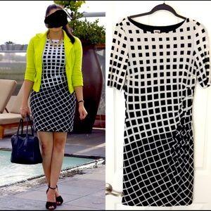 Anne Klein Geometric Windowpane Dress Size 6